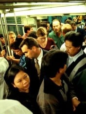 Don't get an itch now. An overcrowded Sydney train.