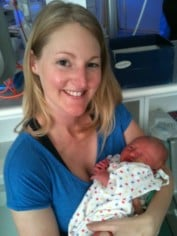 Nicky with her then newborn,  Amelia