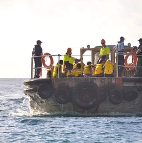 The capsized boat hadn't yet left Indonesia. This is a file photo of asylum seekers in Australia intercepted by the Navy.