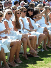 Wives and girlfriends of the international team of the Presidents Cup in Melbourne - in 'uniform'