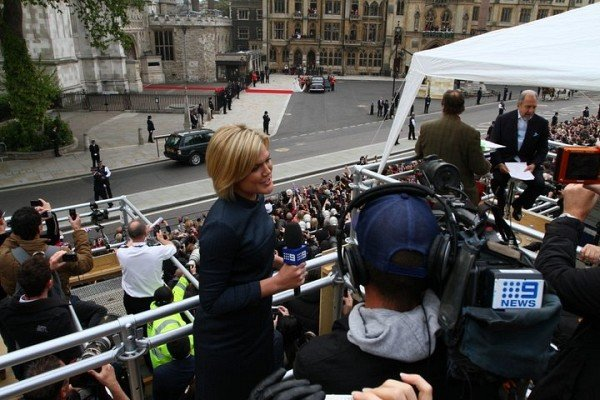 Sarah Harris at the royal wedding. She watched her Ps and Qs then.