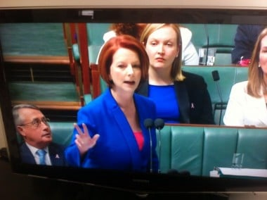 Julia Gillard during question time yesterday