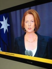 Prime Minister Julia Gillard making the Royal Commission announcement