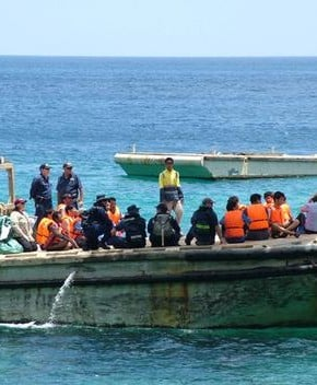 The first group of people to be intercepted off the coast of Australia by the Rudd Government in October 2008