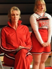 Jane Lynch and Lauren Potter from Glee