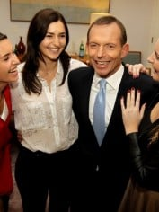 Tony Abbott with his daughters Louise, Frances and Bridget