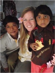 Larissa with the CWIN girls dressed for a dance performance in Pokhara, Nepal