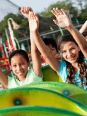 Kids on a rollercoaster.