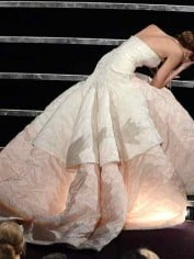 Jennifer Lawrence trips at Oscars.