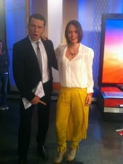 Mia with Karl Stefanovic (he's pointing at her mullet pants)