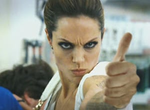 Angelina gives a thumbs up.
