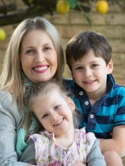 Suzie with her children, Olive and Oscar.