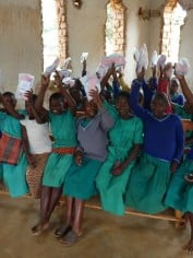 Students with menstrual kits