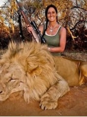 """Stalked inside 60-yards on this beautiful male lion... What a hunt"" -  Her twitter caption read"