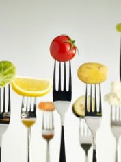 fruit and veg on forks