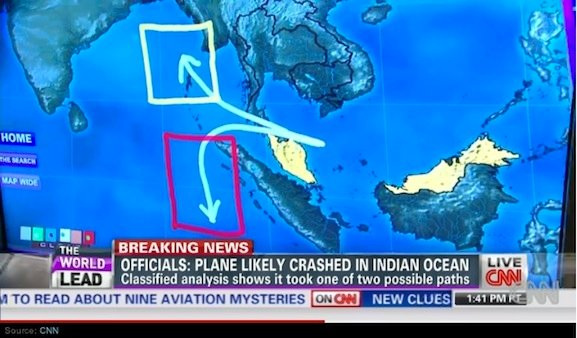 cnn map BREAKING NEWS: Confirmation MH370 was deliberately flown off course.