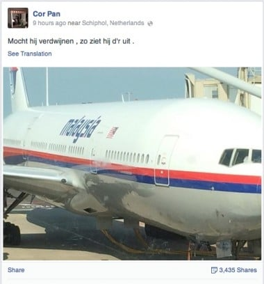 Cor Pan facebook 380x408 MH17: This is what it looks like in case it goes down