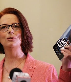 Julia Gillard at the launch of former cabinet minister, Greg Combet's book today. (Photo: Brendon Thorne/Getty)