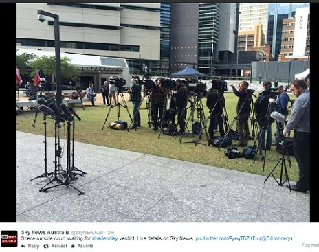 Media crowded around the court this morning. (Image: Twitter/Sky News)