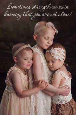 three little girls with cancer