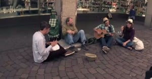 Homeless guy busking