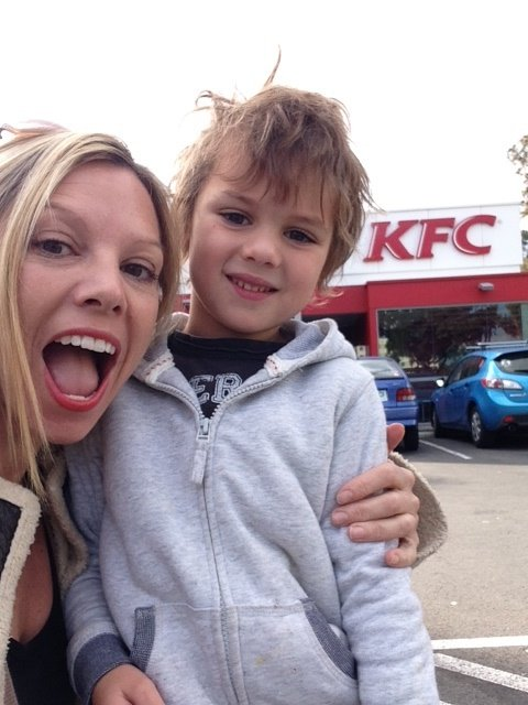 Shauna and her son Odie.