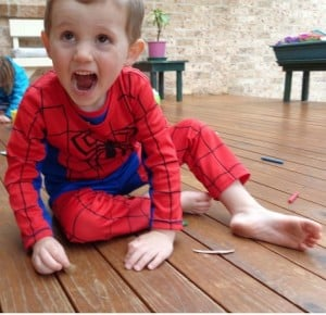 William was wearing this Spiderman suit.