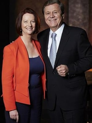 Ray Martin with Julia Gillard. (Photo: Channel Nine)