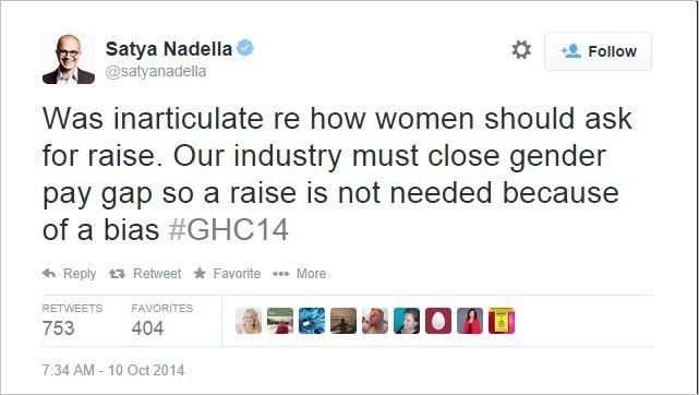 Satya Nadella pay equity tweet