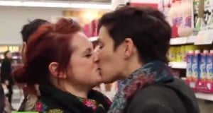 sainsburys kiss in protest