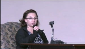 Michelle Knight speaking at the interview.