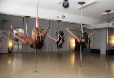 One of Ashley's pole-dancing classes