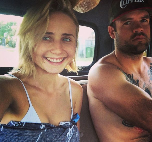 Tessa James with her husband Nate Myles on holiday.