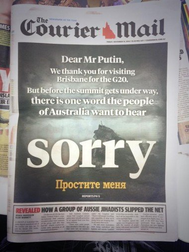 G20 Couriermail cover sorry