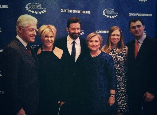 Deborra with her husband Hugh Jackman, and the Clintons.
