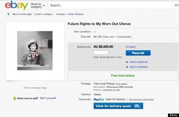 woman selling uterus ebay
