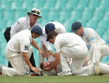 Phillip Hughes after what what has been described as a 'freak accident.'