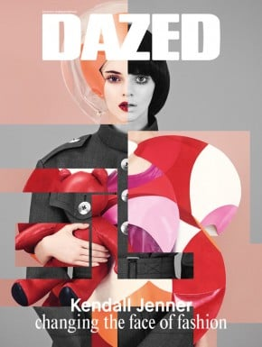 Kendall Jenner getting arty on the cover of Dazed's latest issue.