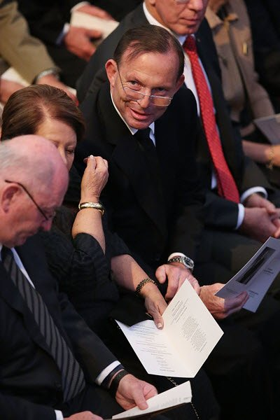 Tony Abbott at Gough Whitlam's memorial.