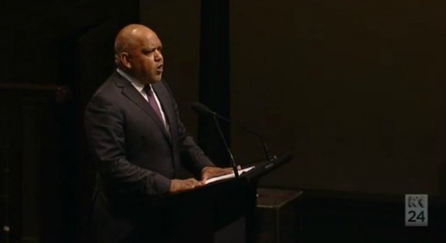 Noel Pearson delivering the eulogy. (Screenshot via ABC News)