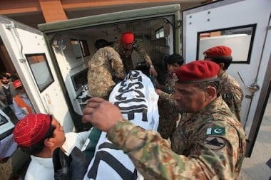 Bodies removed from the Pakistan school. (Source: Getty Images)