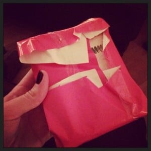Wrapping fail 7 pink present clear