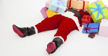 passed out santa