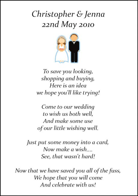 Wedding Gift Poem For Dollars : Our wedding was very expensive and we need you to help us pay it ...