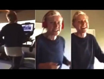 Ellen secretly filmed wife Portia doing an 80's aerobic style workout.