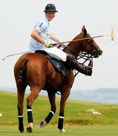 Prince Harry, on a horse.