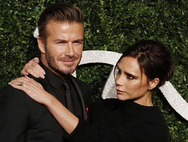 David and Victoria Beckham striking a pose