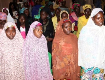 Some of the Chibok schoolgirls who escaped their Boko Haram Islamist captors.