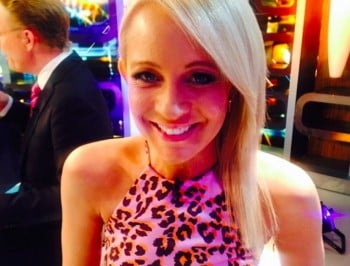 Carrie Bickmore on the set of the Project.