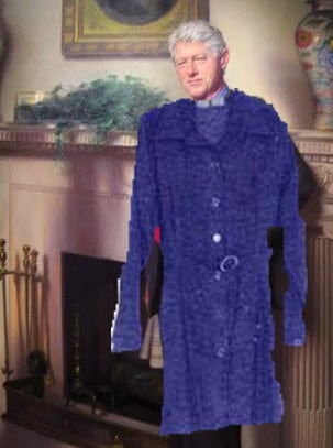 841abe7eb5ef Bill Clinton s portrait photobombed by Monica Lewinsky dress.